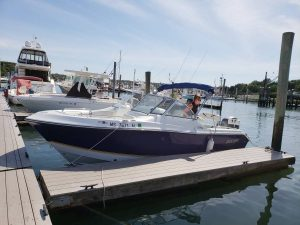 21' Polar Outboard Boat 2100DC at dock